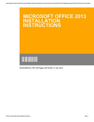 Office 2013 Installation Instructions