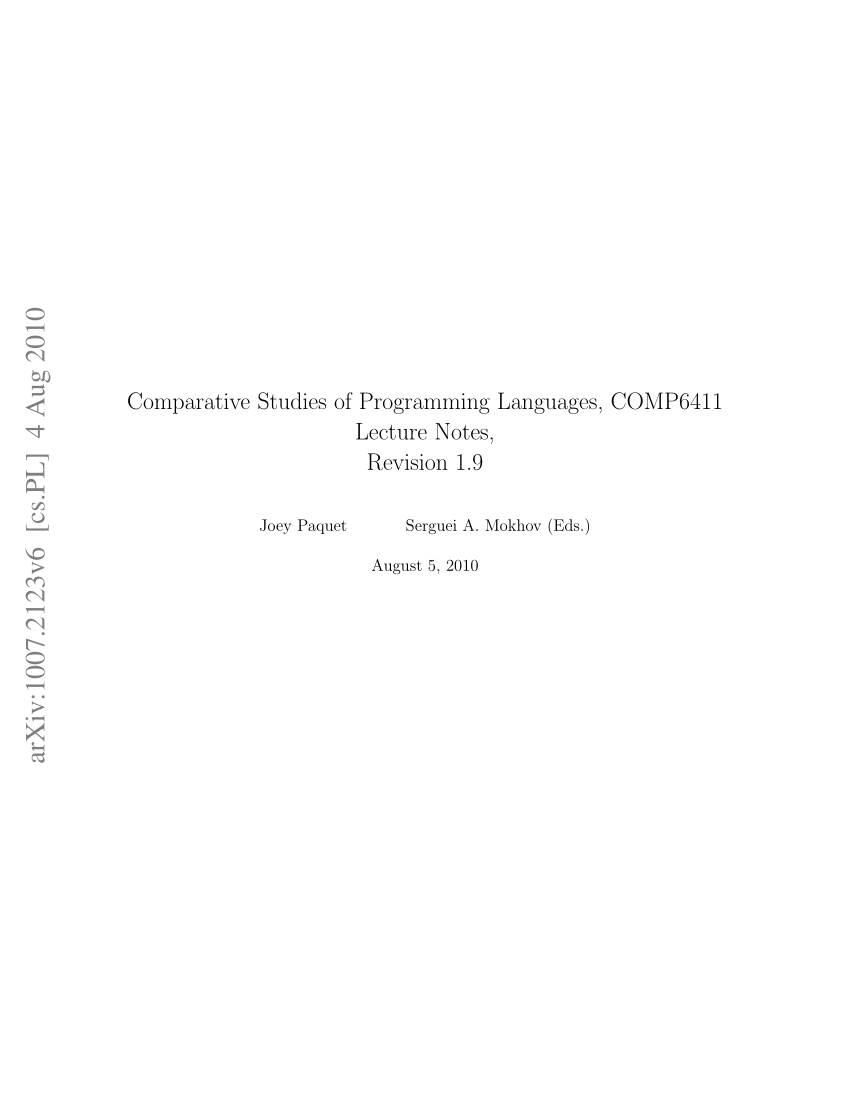Comparative Studies Of Programming Languages